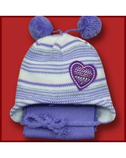Zimowy komplet czapka z pomponami i szalik 42 - 44 Dżamila