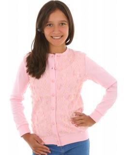 Elegancki sweterek dla dziewczynki 116-158 KRP272 różowy