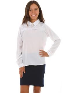 Koszula dla dziewczynki z broszką 128-158 KRP274 biała