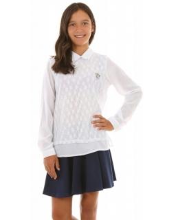 Szkolna koszula z koronką 128-164 KRP275 biała