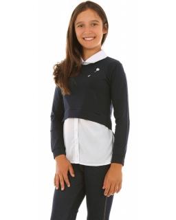 Bluzka dla dziewczynki z broszką 116-158 KRP277 biało- granatowa