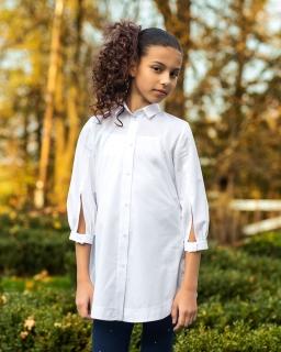 Luźna bluzka z rękawem 3/4 140-170 104/S/19 biała