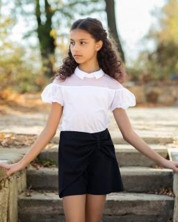 Wizytowa bluzka dla dziewczynki 140-170 142/S/20 biała