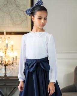 Luźna biała bluzka dla dziewczynki 140-170 114/S/19 biała
