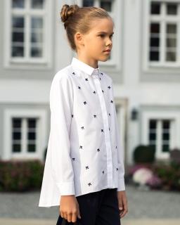 Bluzka w kokardki z długim rękawem 122-158 123B/S/19 biała