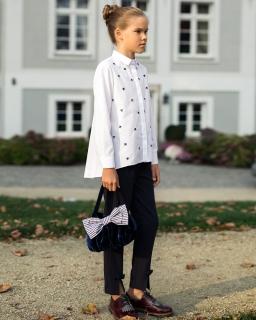 Bluzka w kokardki z długim rękawem 122-158 143B/S/20 biała
