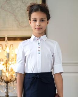Klasyczna bluzka z kolorowymi guzikami 134-170 128/S/19 biała