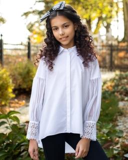Oryginalna galowa bluzka dziewczęca 134-164 130/S/19 biała