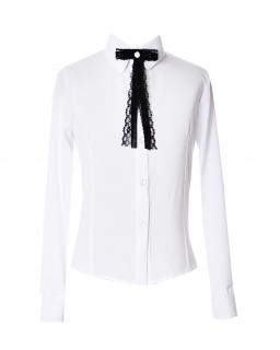 Bluzka z koronkową krawatką 122-164 Żaneta biała