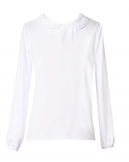 Biała szkolna bluzka z kołnierzykiem 122-164 Basia biała