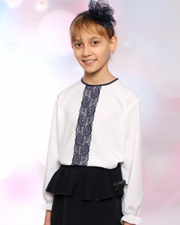 Dziewczęca bluzka z długim rękawem 122-158 Elena 2 biała