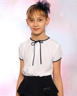 Bluzka dla dziewczynki z krótkim rękawkiem 122-158 Bożenka 2 biała