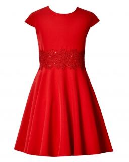 Piękna rozkloszowana sukienka 140-164 Barbi czerwona
