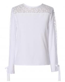 Elegancka bluzka z koronką 134-164 Iwona biała