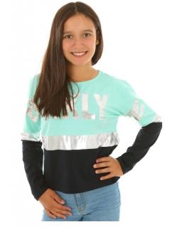 Bluzka dziewczęca z nadrukami, miętowa, sklep