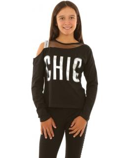 Bluzka dla dziewczynki z odkrytymi ramionami, czarna