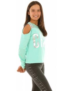 Bluzka dla dziewczynki z odkrytymi ramionami, miętowa