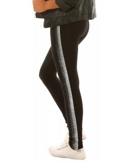 Legginsy dla dziewczynek, duży wybór, czarne z lampasami, modne
