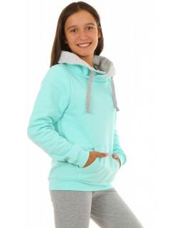 Bluzy dziewczęce z kominem w kolorze miętowym, bawełniane, sklep