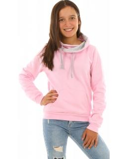 Bluzy dziewczęce z kominem w kolorze różowym, bawełniane, sklep
