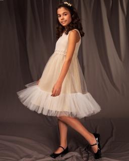 Sukienka wizytowa dla dziewczynki w złotym kolorze