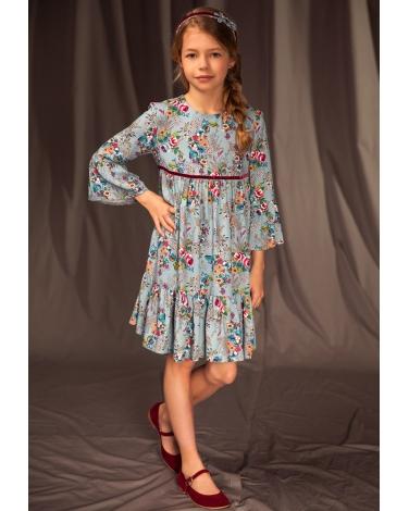 Kwiecista sukienka dla dziewczynki 128 158 12J19 niebieska