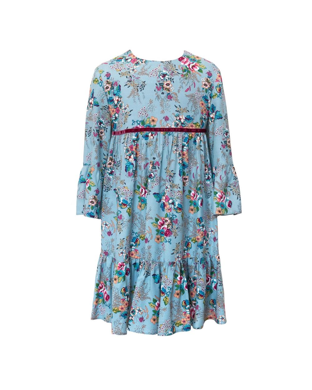 Sukienka dziewczęca w kwiatki, modny fason, na różne okazje