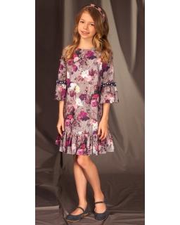Jesienno-świąteczna sukienka z falbanką 128-158 19B/J/19