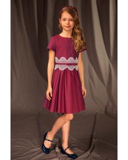 Okolicznościowa sukienka z haftem 122-158 17C/J/19 borodwa