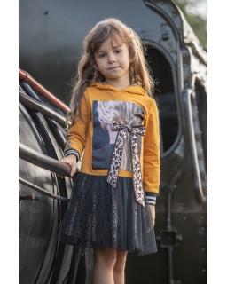 Sukienka z panterką 122-152 P-157/viw miodowa
