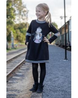 Sukienka z nadrukiem 122-158 P-159/viw czarna