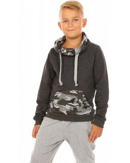 Chłopięca bluza z kominem 116-158 KRP299 grafit