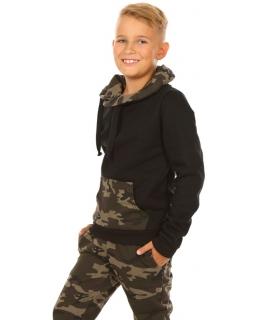 Chłopięca bluza z kominem 116-158 KRP299 czarna