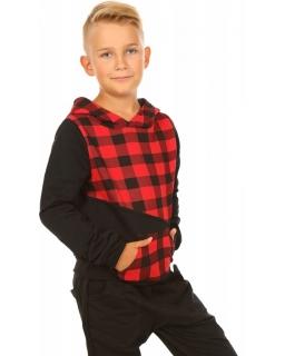 Chłopięca bluza z kapturem 116-158 KRP300 krata