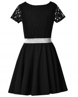 Sukienka z koronkową górą 146-164 Estella czarna