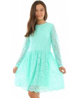 Sukienka z rękawkiem dla dziewczynki 128-164 KRP220 miętowa