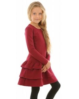 Sukienka dla dziewczynki z falbanami, bawełniana, z długim rękawem