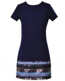 Prosta sukienka z połyskującym dołem 128-158 Olivia granatowa