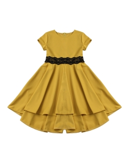 Sukienka z asymetrycznym tyłem 140-164 Elwira musztardowa