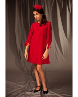 Świąteczna sukienka dla dziewczynki 128-158 6/J/19 malinowy