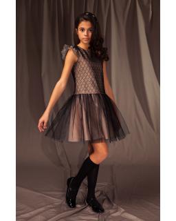 Okolicznościowa sukienka z tiulem 122-152 3/J/19 czarny plus róż