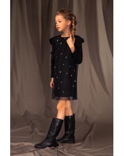 Okolicznościowa sukienka z haftami 128-158 15/J/19 czarna