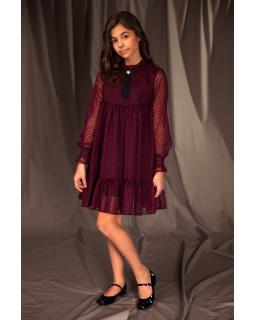 Okolicznościowa sukienka dla dziewczynki 134-164 16b/J/19 bordowy