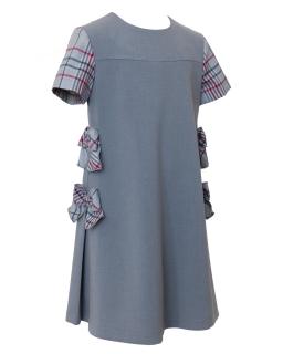 Dziewczęca sukienka z kokardkami 122-152 7/J/19 szara 1