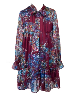 Dziewczęca sukienka w kwiaty 128-158 13A/J/19 wielokolorowa 1