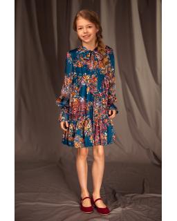 Sukienka w kwiecisty wzór 134-164 13B/J/19 wielokolorowa 1