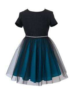 Elegancka dziewczęca sukienka 128-158 14B/J/19 czarny i morski 1