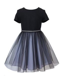 Dziewczęca sukienka okolicznościowa 128-152 14D/J/19 czarno-szara 1