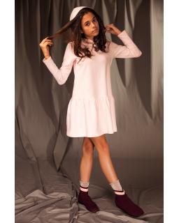 Dzianinowa sukienka dla dziewczynki 128-164 26A/J/19 różowa 1