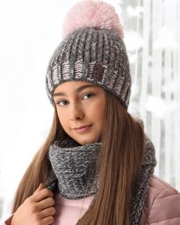 Ciepły zimowy komplet czapka plus szalik 52-56 AJS/38-552